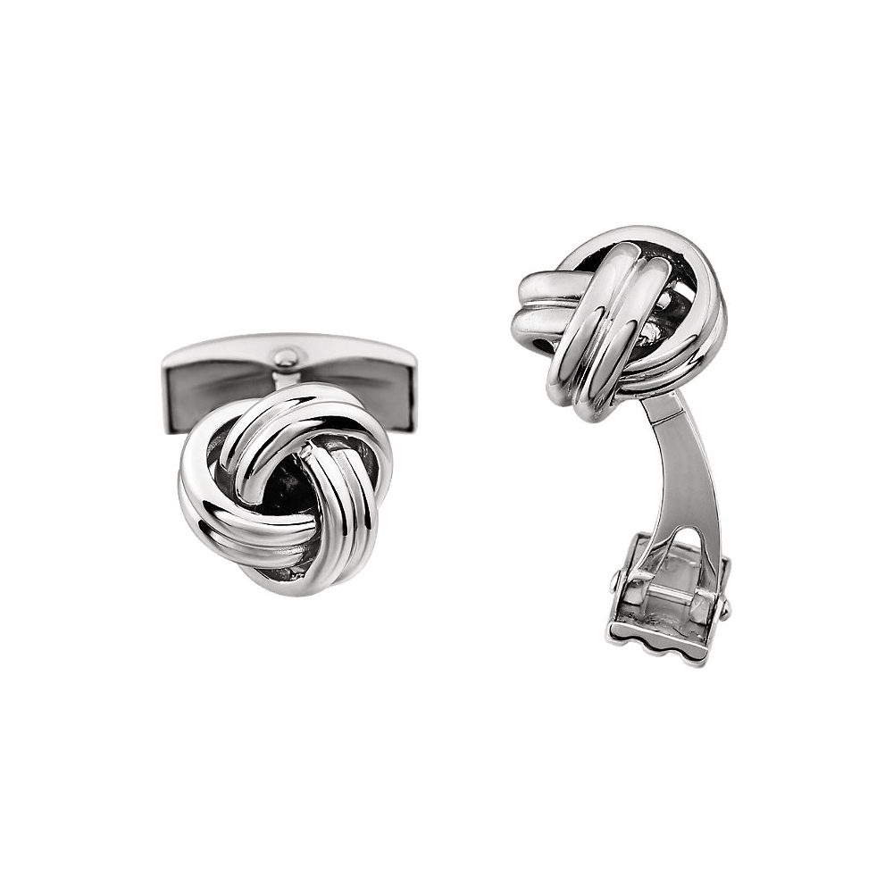Men's 14k White Gold 12mm Polished Knot Cuff Links