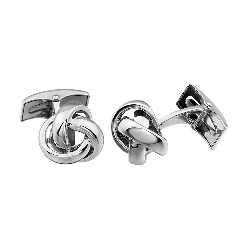 Men's 14k White Gold 14mm Polished Knot Cuff Links