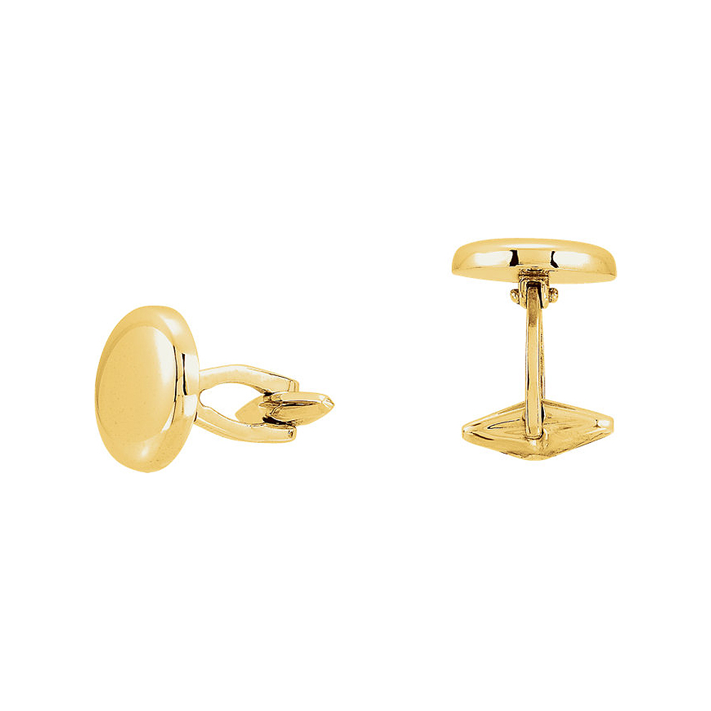 Men's 14k Yellow Gold 16mm Engravable Round Cuff Links