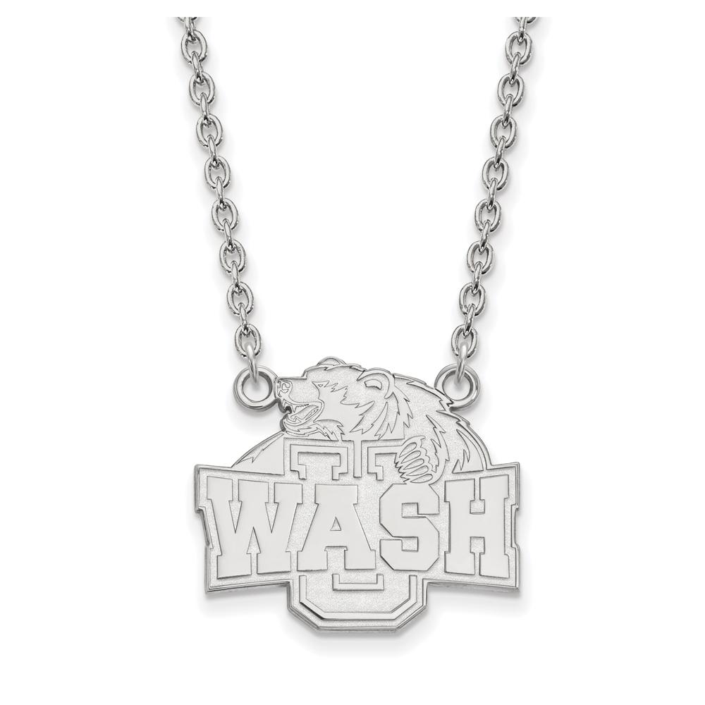NCAA 10k White Gold Washington U St. Louis Lg Logo Pendant Necklace N11674