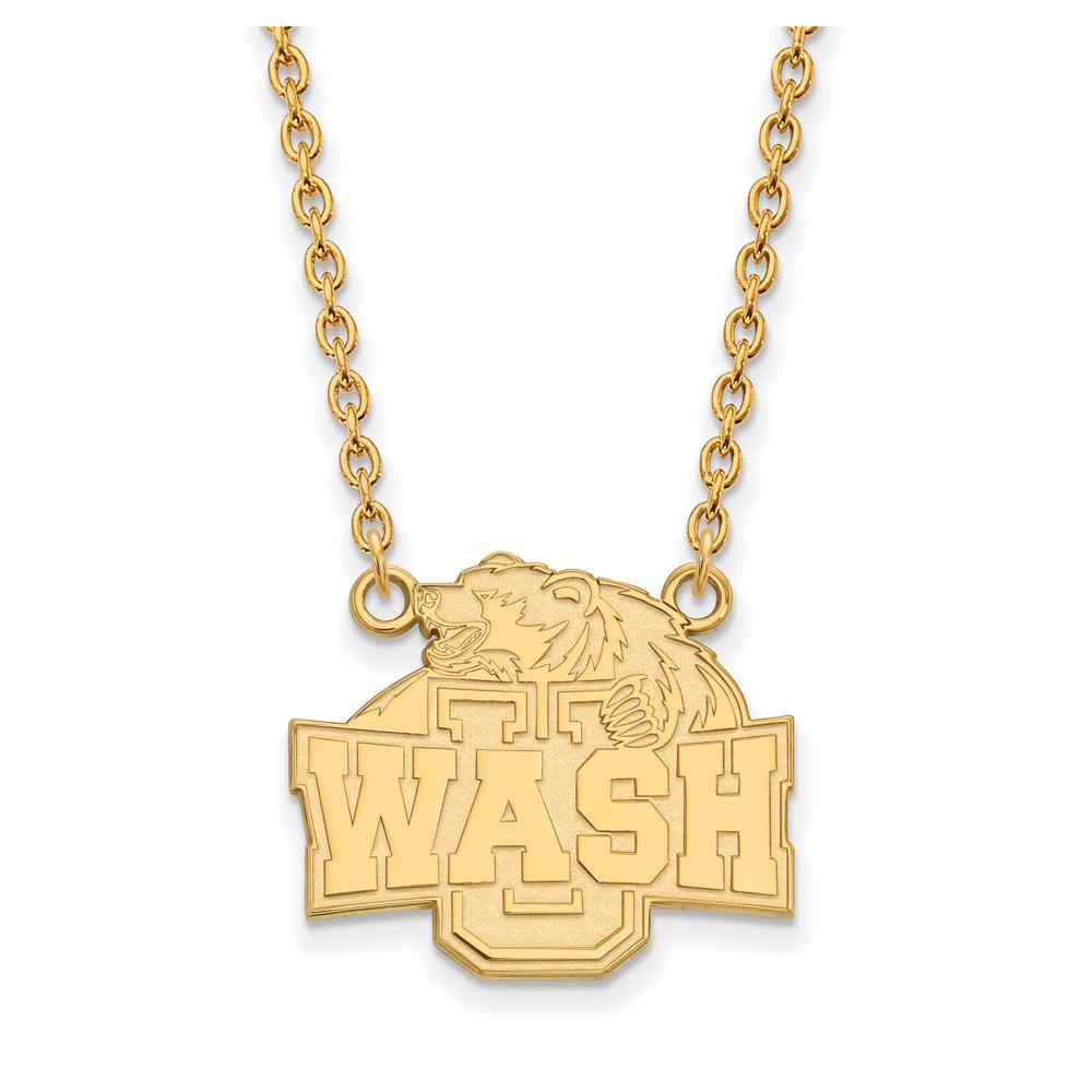 NCAA 10k Yellow Gold Washington U St. Louis Lg Wash Pendant Necklace N11862