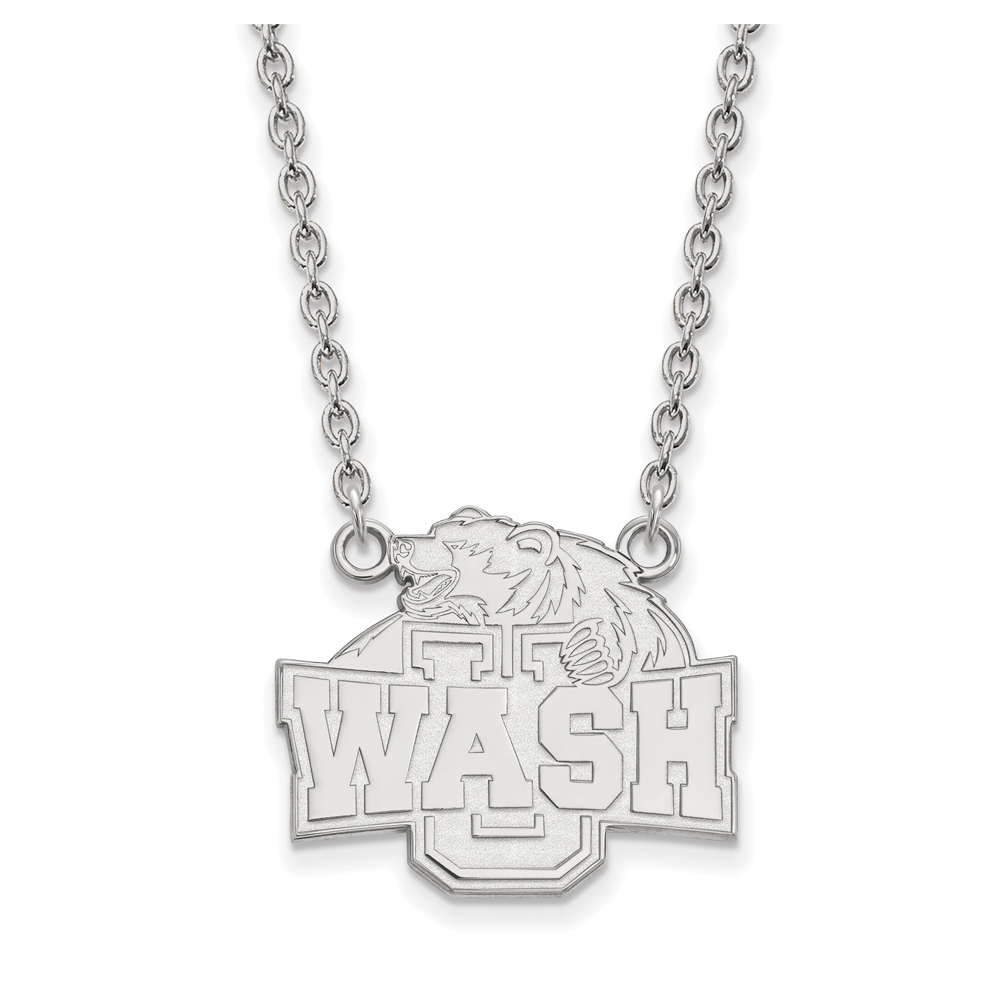 NCAA 14k White Gold Washington U St. Louis Lg 'Wash' Pendant Necklace N12050
