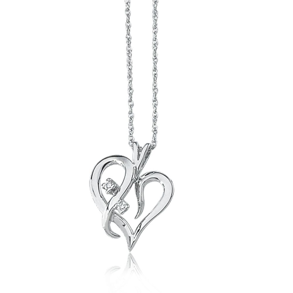 .03 Carat Diamond Heart Necklace in 14k White Gold