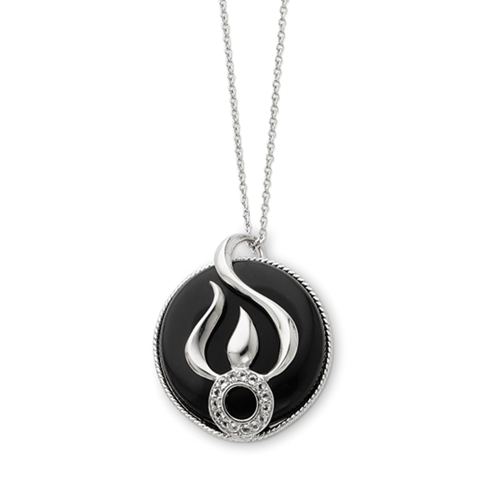 Rhodium Sterling Silver, Onyx & CZ Fear Less Flame Necklace, 18 Inch N8602