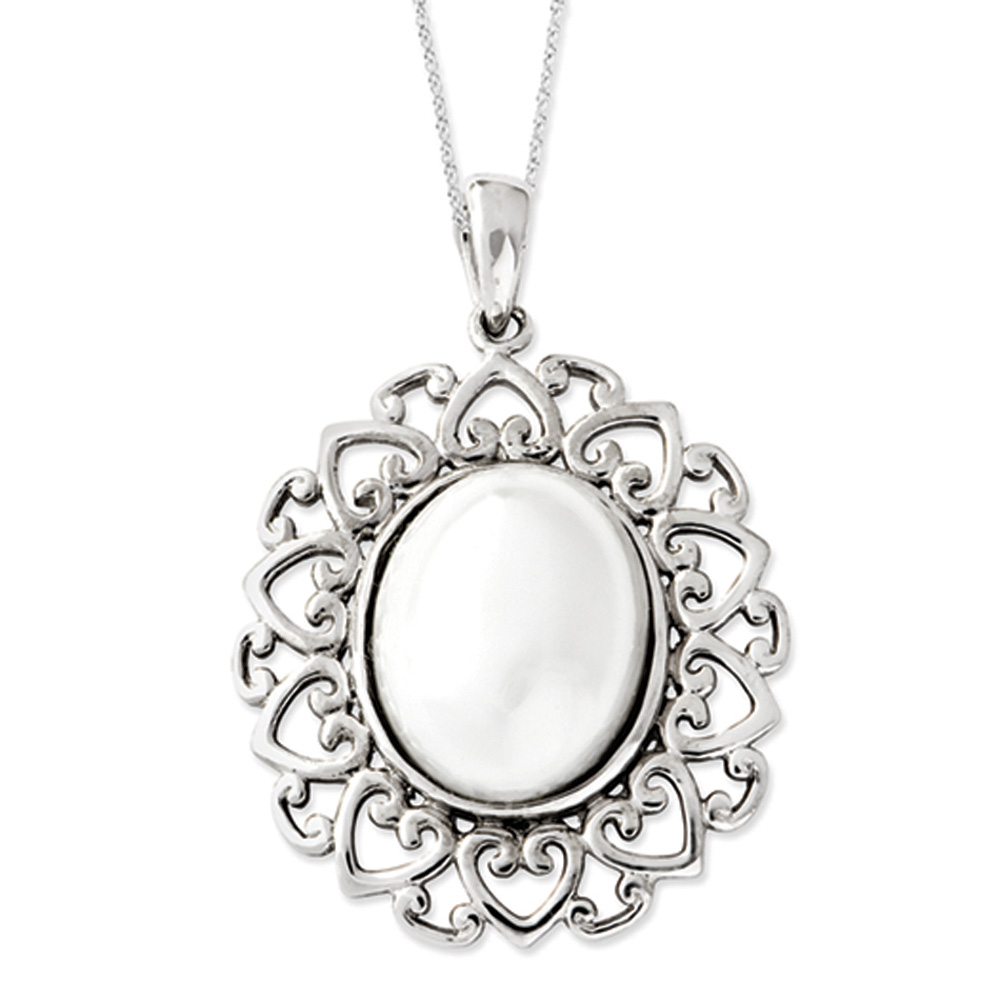 Cultured Shell Pearl of Contentment Sterling Silver Necklace N9369