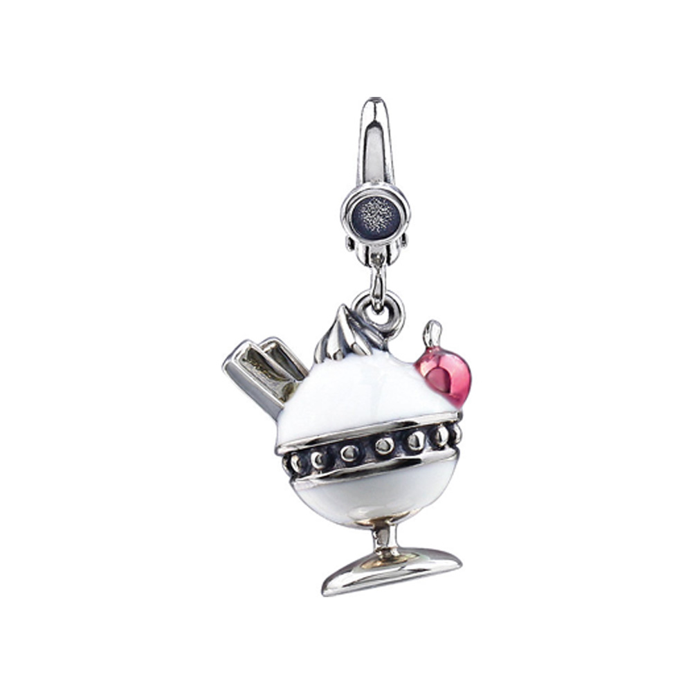 Sterling Silver and Enamel Antiqued 3D Ice Cream Sundae Charm P11508