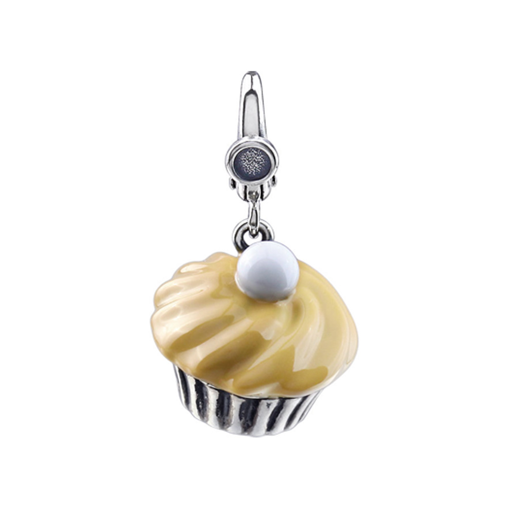 Sterling Silver and Enamel Antiqued 3D Caramel Cupcake Clip-On Charm P11512