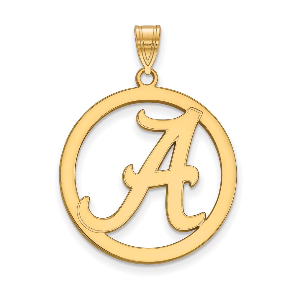 NCAA 18k Gold Plated Silver U. of Alabama L Circle Pendant P17659