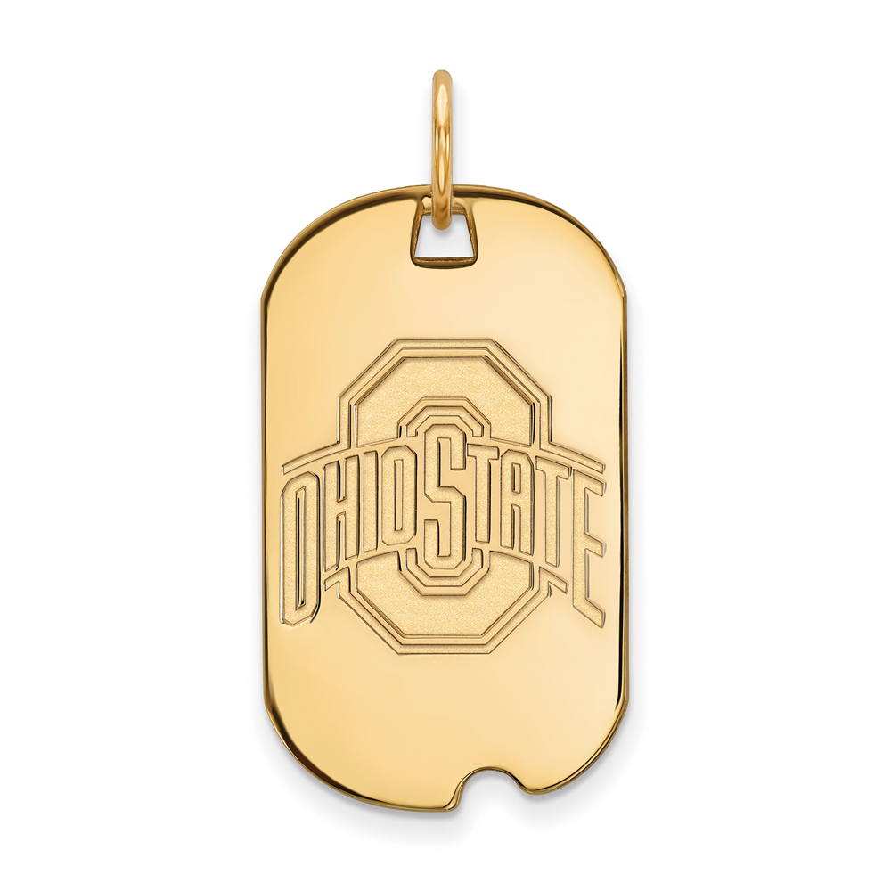 NCAA 10k Yellow Gold Ohio State Small Dog Tag P20199