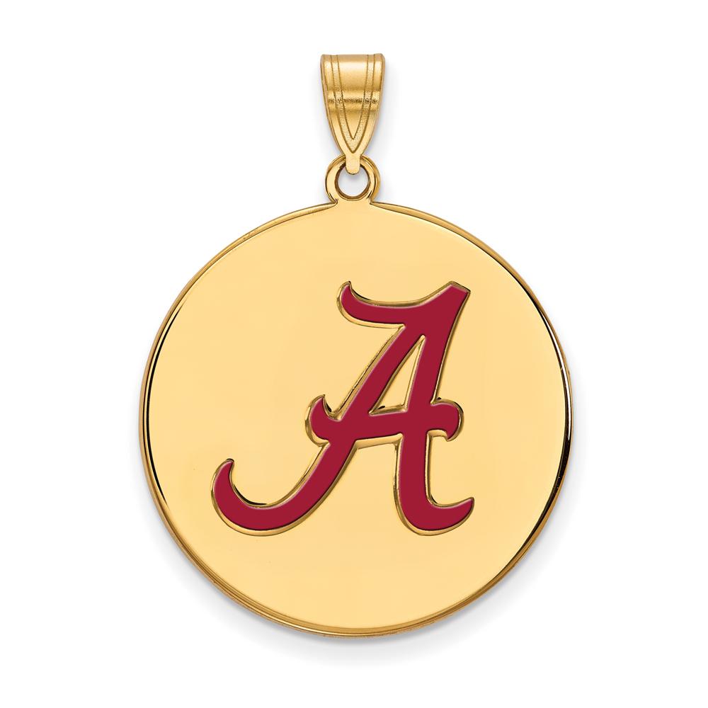 NCAA 18k Gold Plated Silver U. of Alabama XL Enamel Disc Pendant P21337