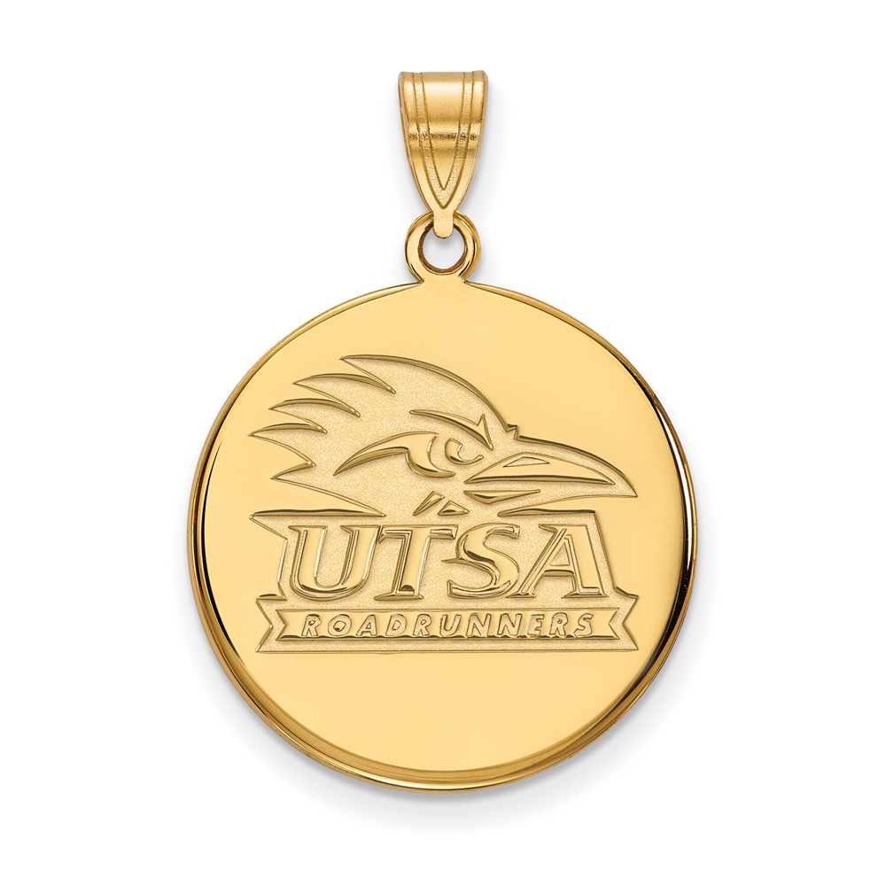 NCAA 18k Gold Plated Silver U. of Texas at San Antonio Large Disc Pendant P24509