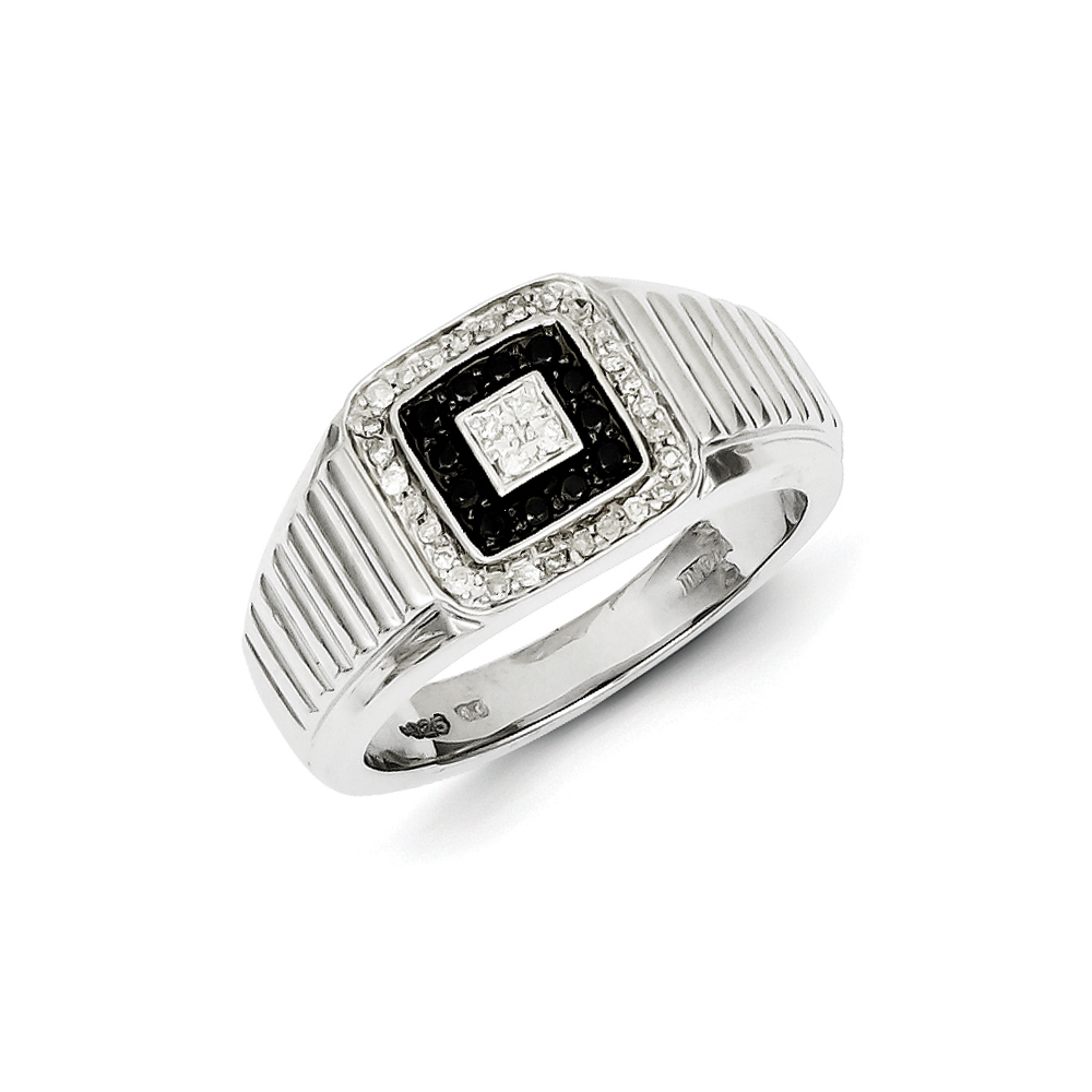 Black & White Diamond Square Sterling Silver Tapered Ring Size 9 R10631-09