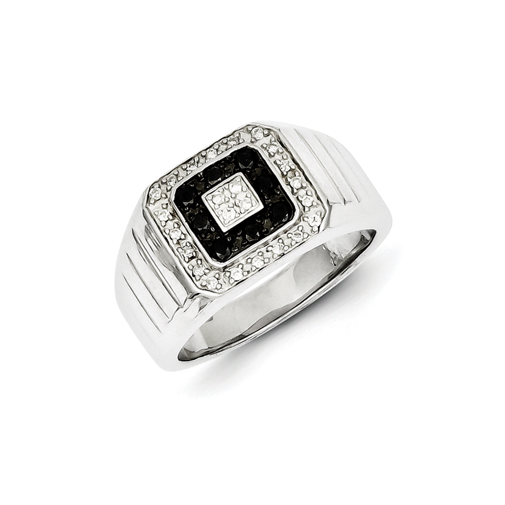 Black & White Diamond Square Sterling Silver Tapered Ring Sz 9 R10634-09