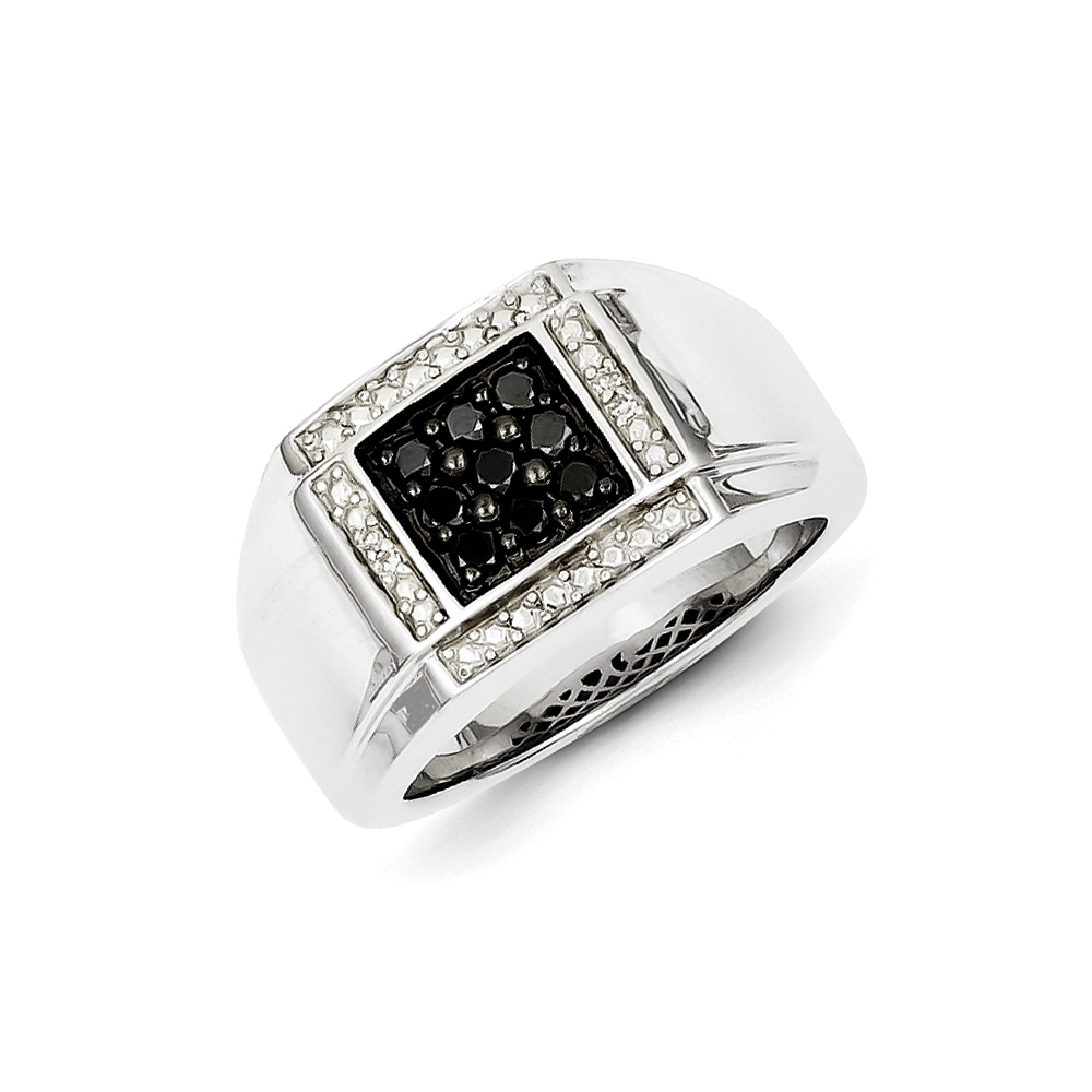 Black & White Diamond Square Tapered Ring in Sterling Silver Size 9 R10639-09