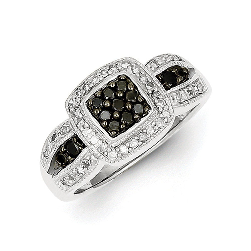 1/2 Ctw Black & White Diamond Square Tapered Ring Sterling Silver Sz 6 R10801-06