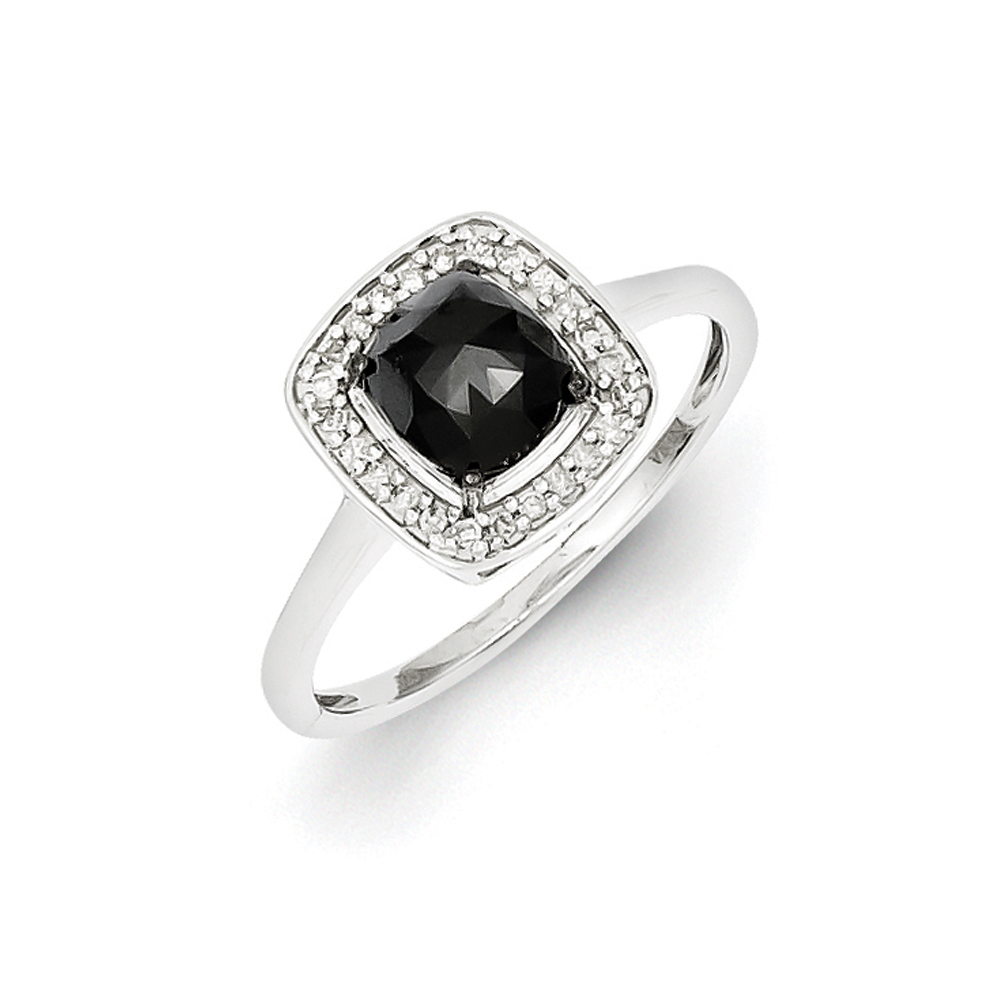 1 1/10 Ctw Black & White Diamond Square Ring in Sterling Silver Size 6 R10807-06