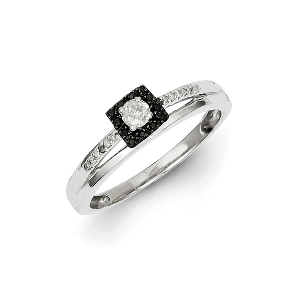 1/5 Ctw Black & White Diamond 5mm Square Ring in Sterling Silver Sz 6 R10815-06