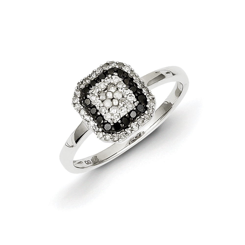 1/3 Ctw Black & White Diamond Square Frame Ring Sterling Silver Sz 6 R10816-06