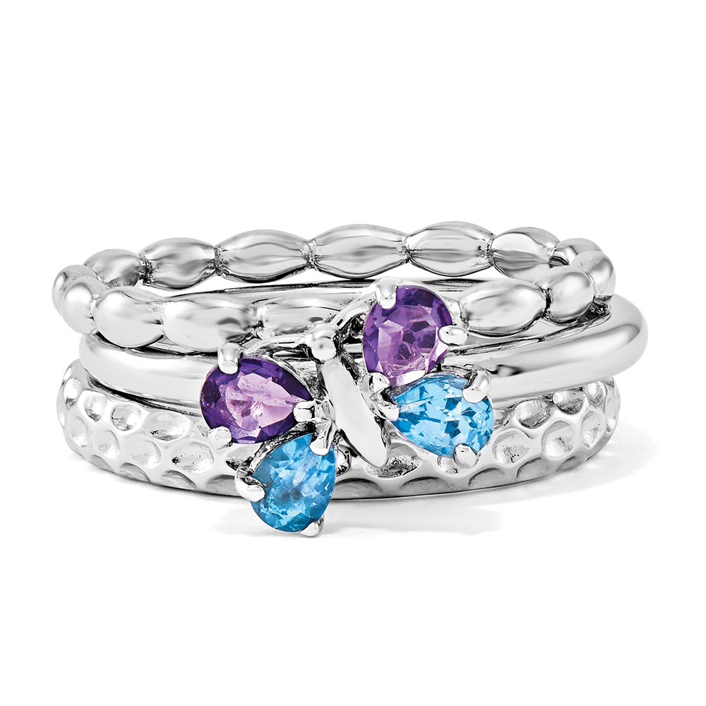 Rhodium Plated Sterling Silver Stackable Gemstone Butterfly Ring Set R11283
