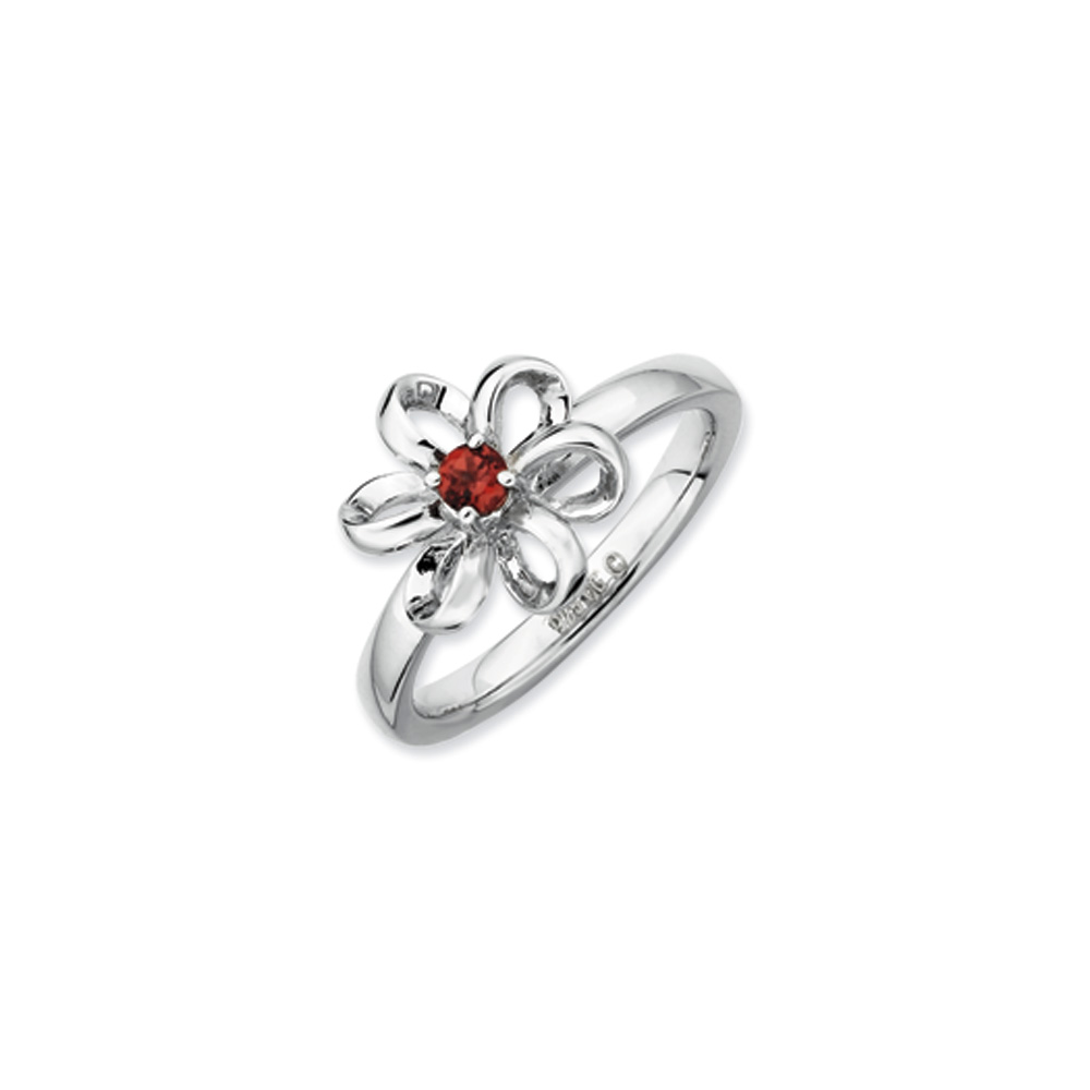 Sterling Silver & Garnet Stackable 11mm Looped Petal Flower Ring R8832