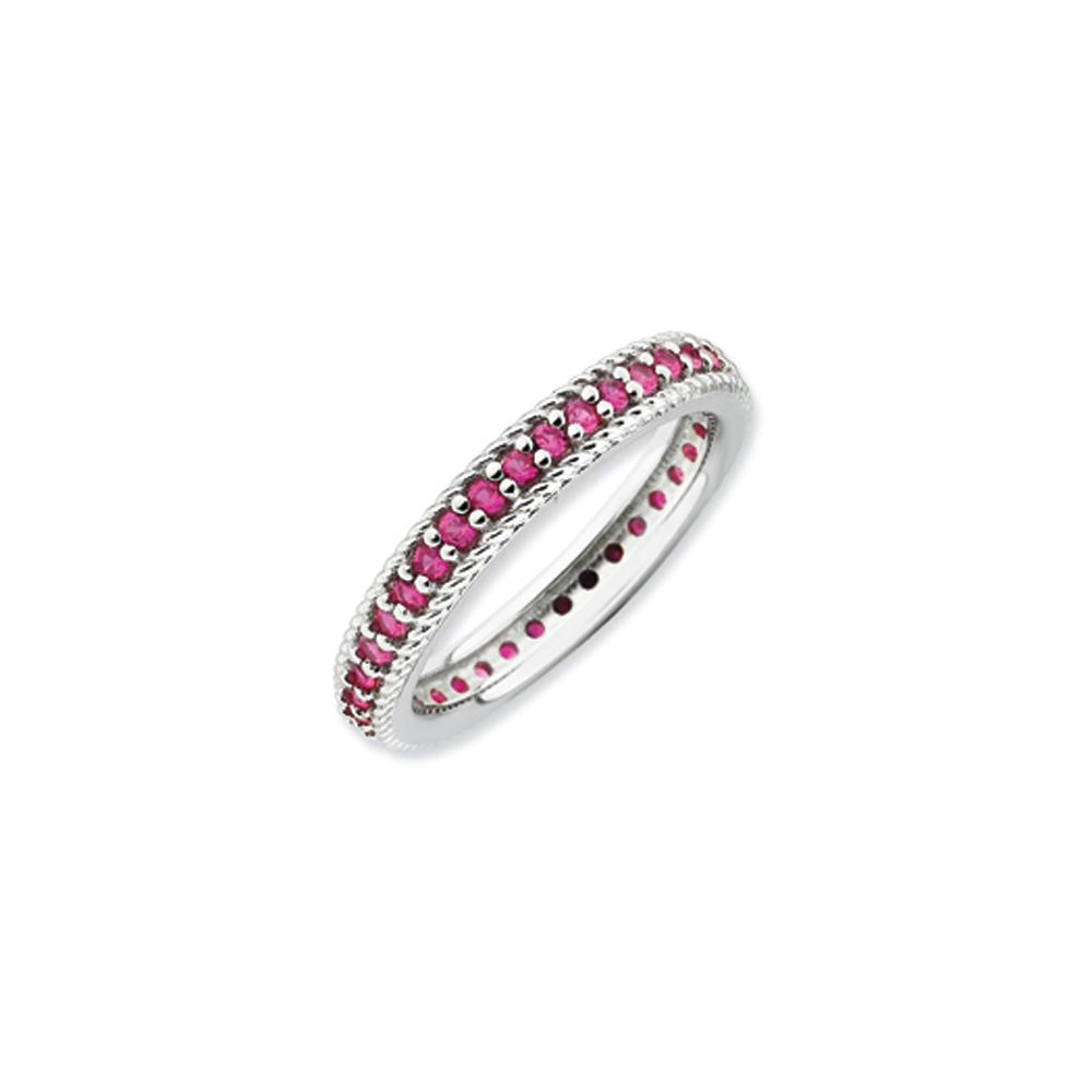3.25mm Sterling Silver Stackable Created Ruby Eternity Ring R9421