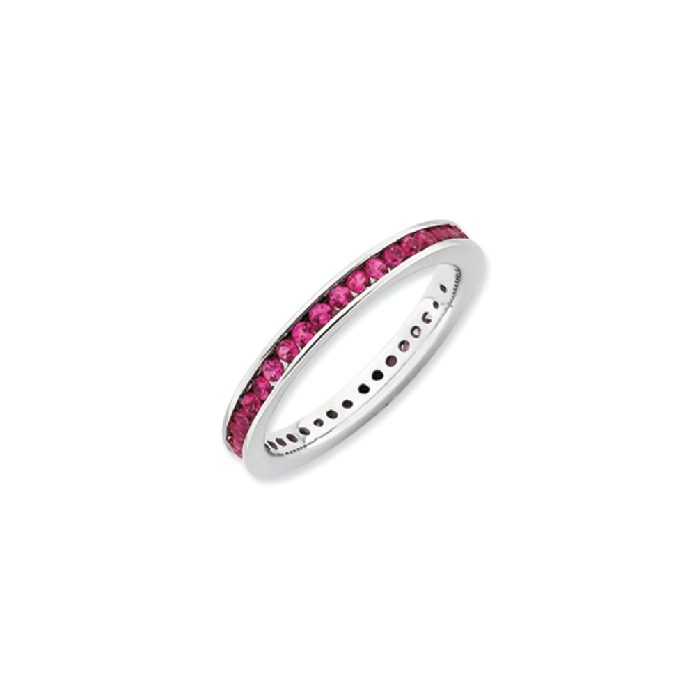 2.5mm Sterling Silver Stackable Created Ruby Channel Eternity Band R9424
