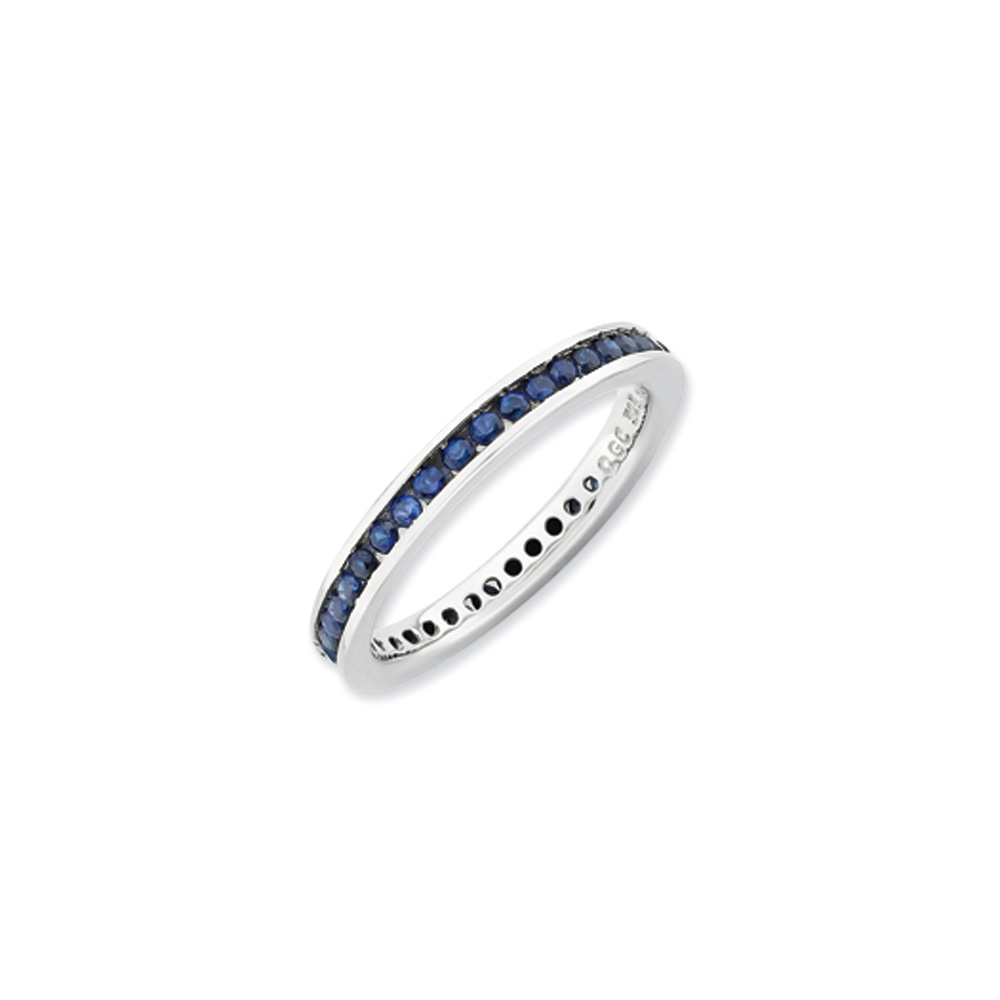 2.5mm Sterling Silver Stackable Created Sapphire Channel Eternity Band R9425