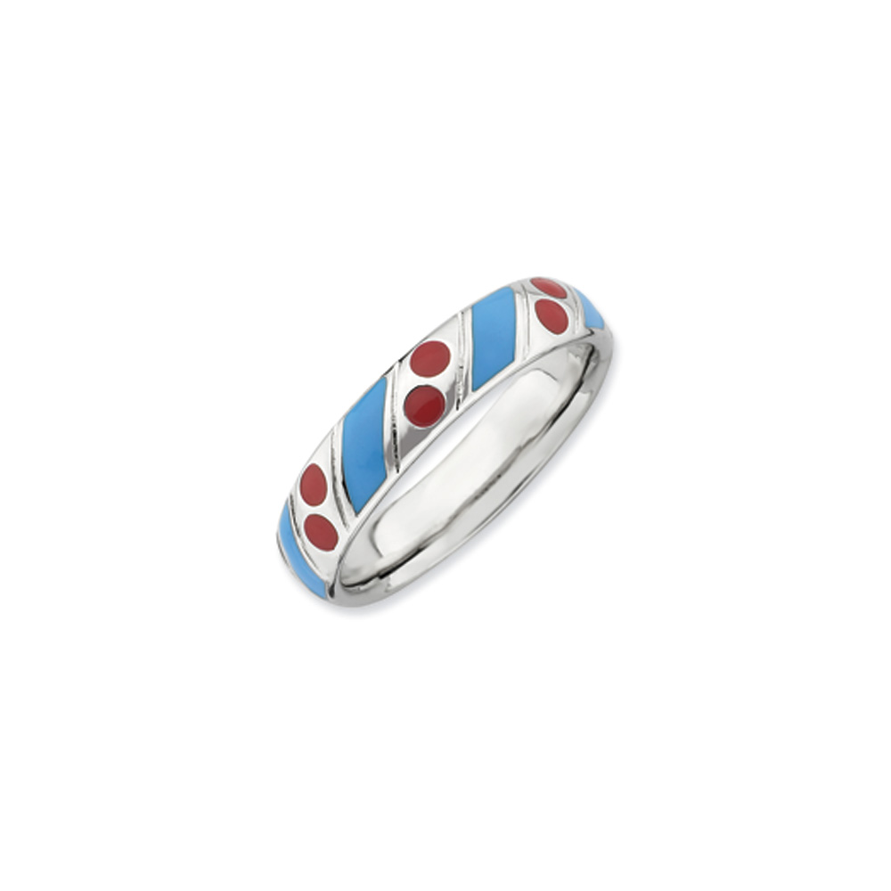 4.5mm Silver Stackable Blue and Red Enameled Band R9469