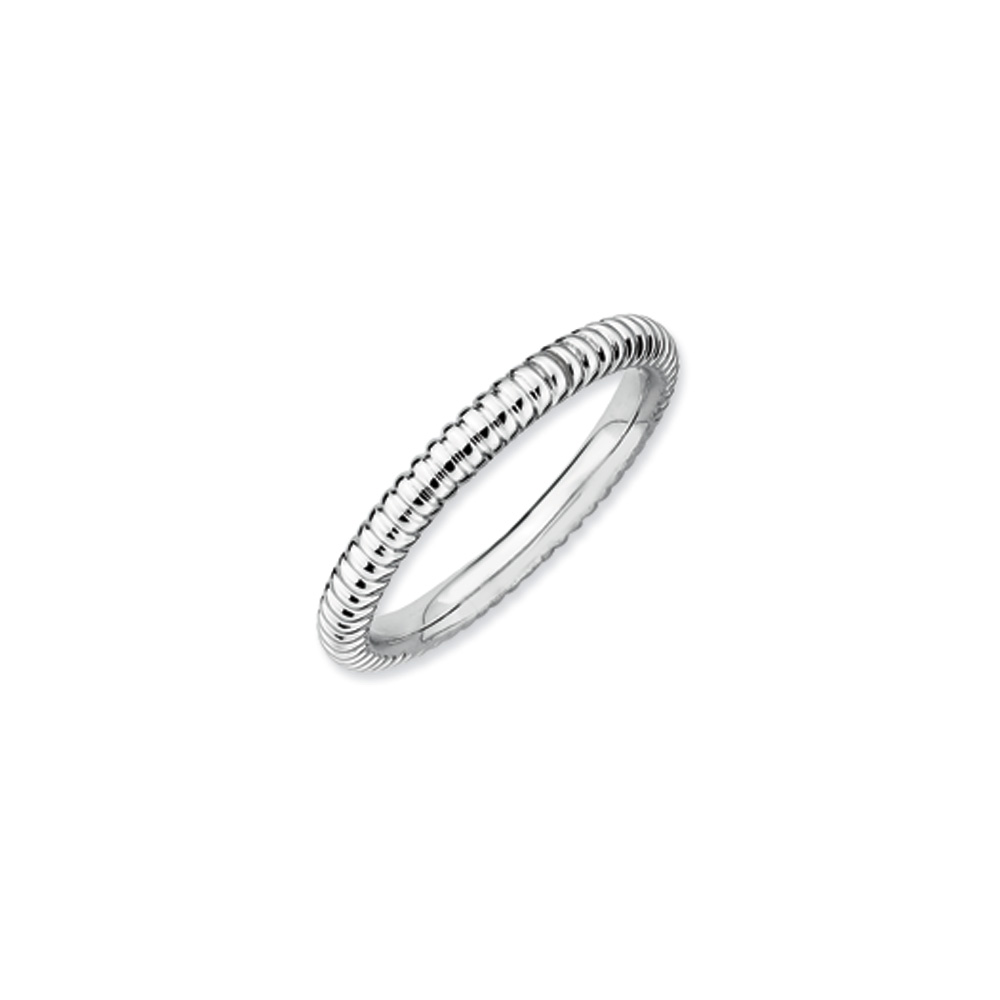 2.25mm Stackable Sterling Silver Fluted Band R9535