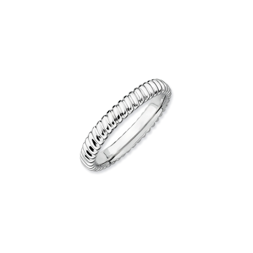 3.25mm Stackable Sterling Silver Fluted Band R9575