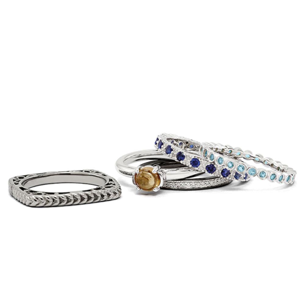 Stackable | Sterling | Quartz | Silver | Ring | Size | Set