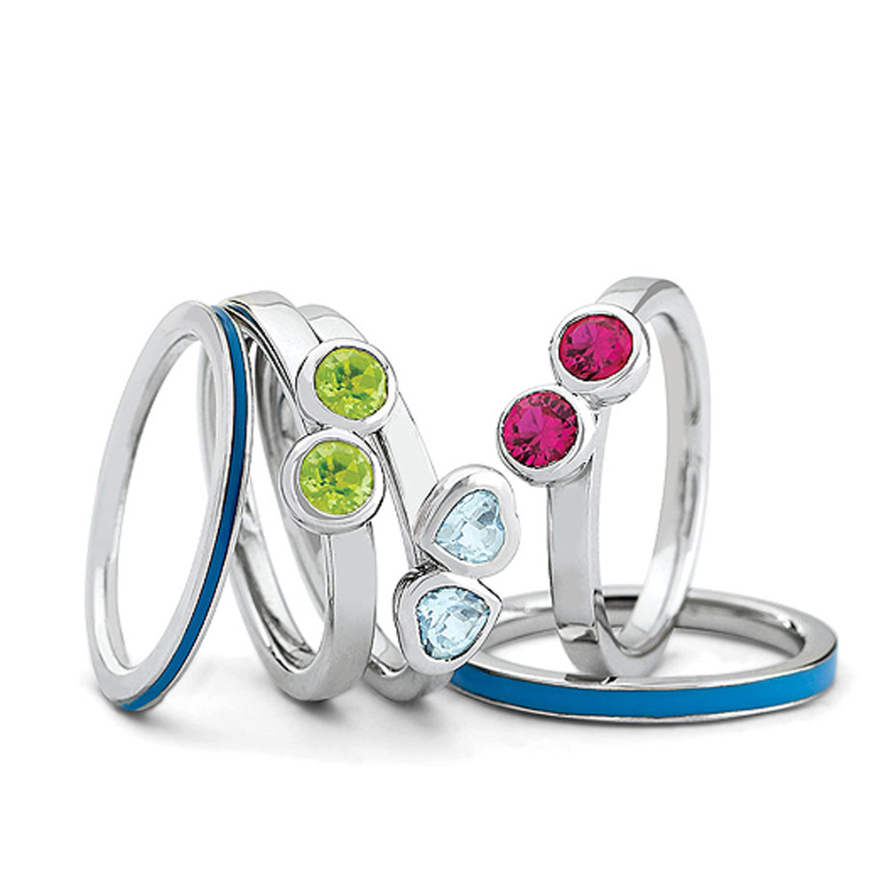 Sterling Silver Stackable Enamel and Gemstone Ring Set R9637