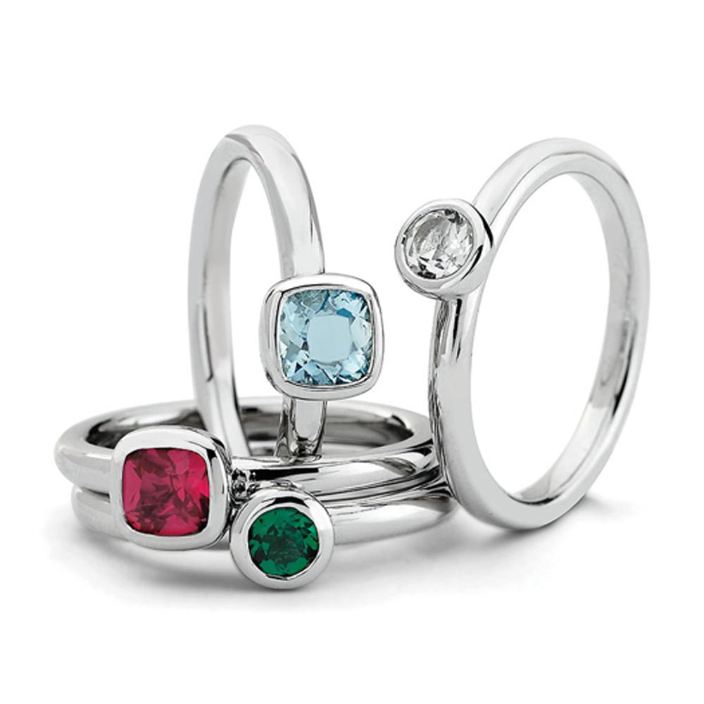 Sterling Silver Stackable Vibrant Gemstone Quartet Ring Set R9659