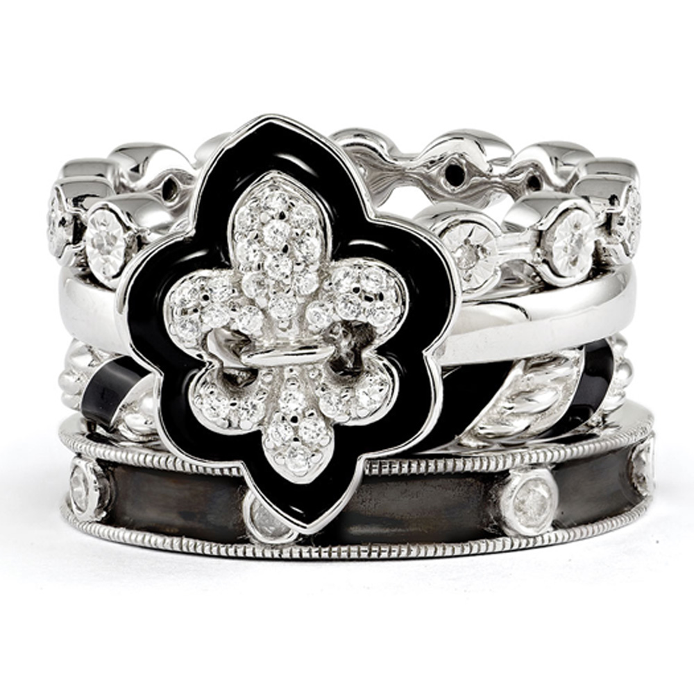 Sterling Silver Stackable Diamond & CZ Fleur de Lis Ring Set R9672