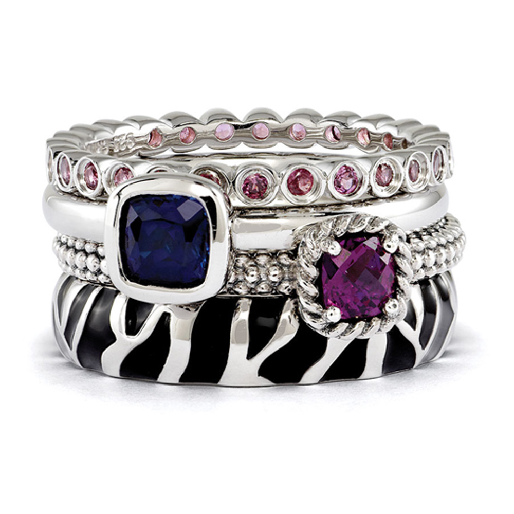 Sterling Silver Stackable Safari Gemstone Ring Set Size 5 R9673-05