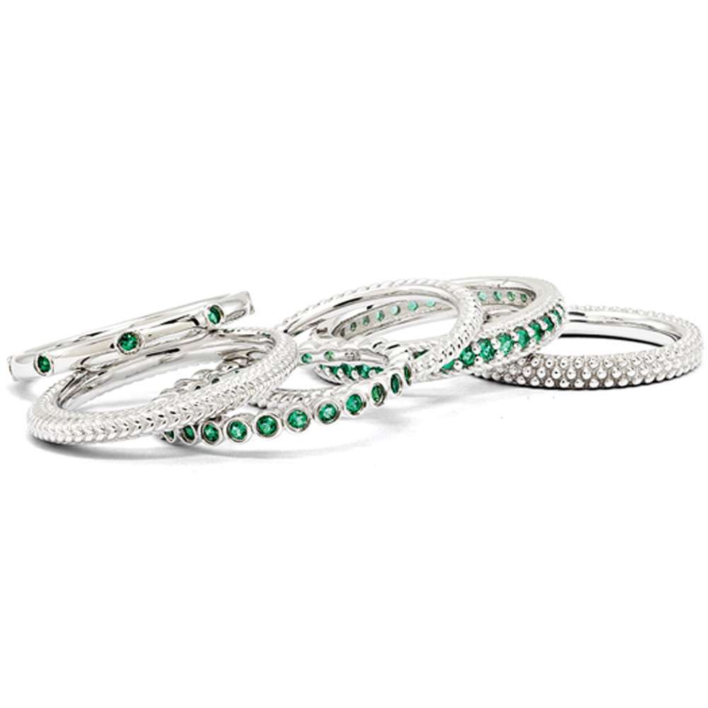 Sterling Silver Stackable Created Emerald Band Set R9686