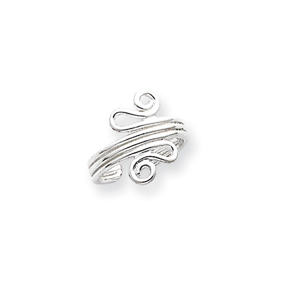 Polished Scroll Toe Ring in Sterling Silver T8049