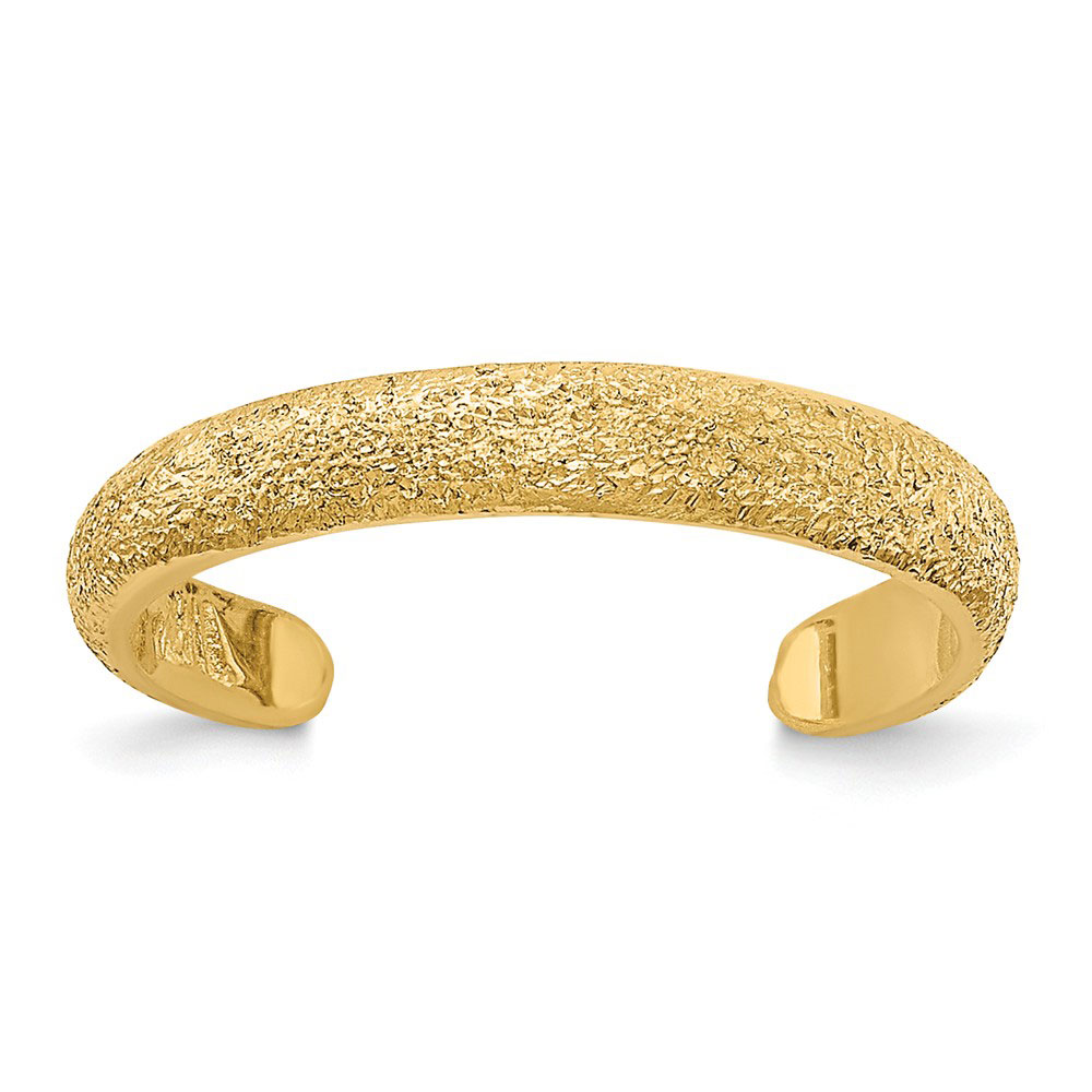 14k Yellow Gold 2mm Textured and Diamond-Cut Toe Ring