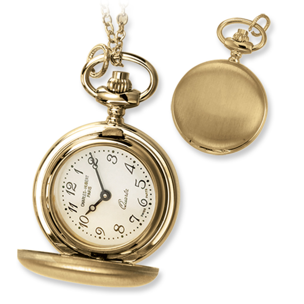 Ladies, Gold-plated Brass, Satin Pocket Watch Necklace