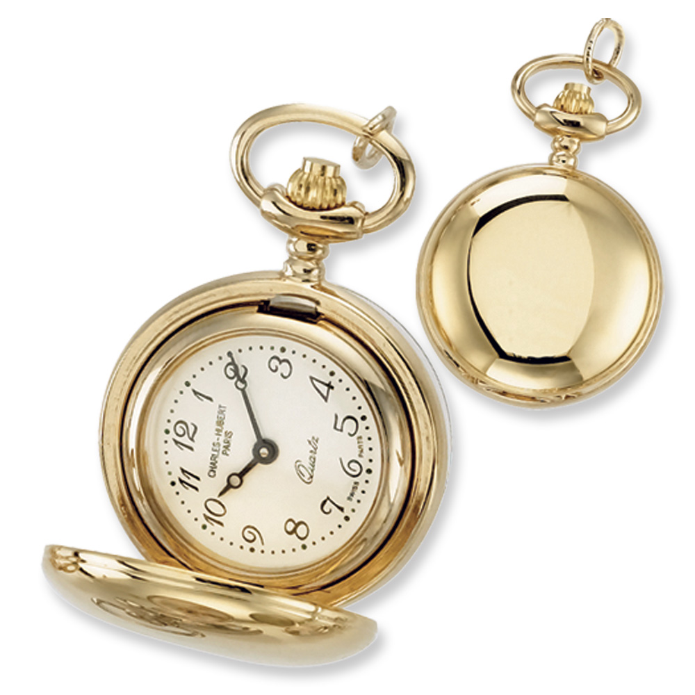 Ladies, Gold-plated Brass, Polished Pocket Watch Necklace