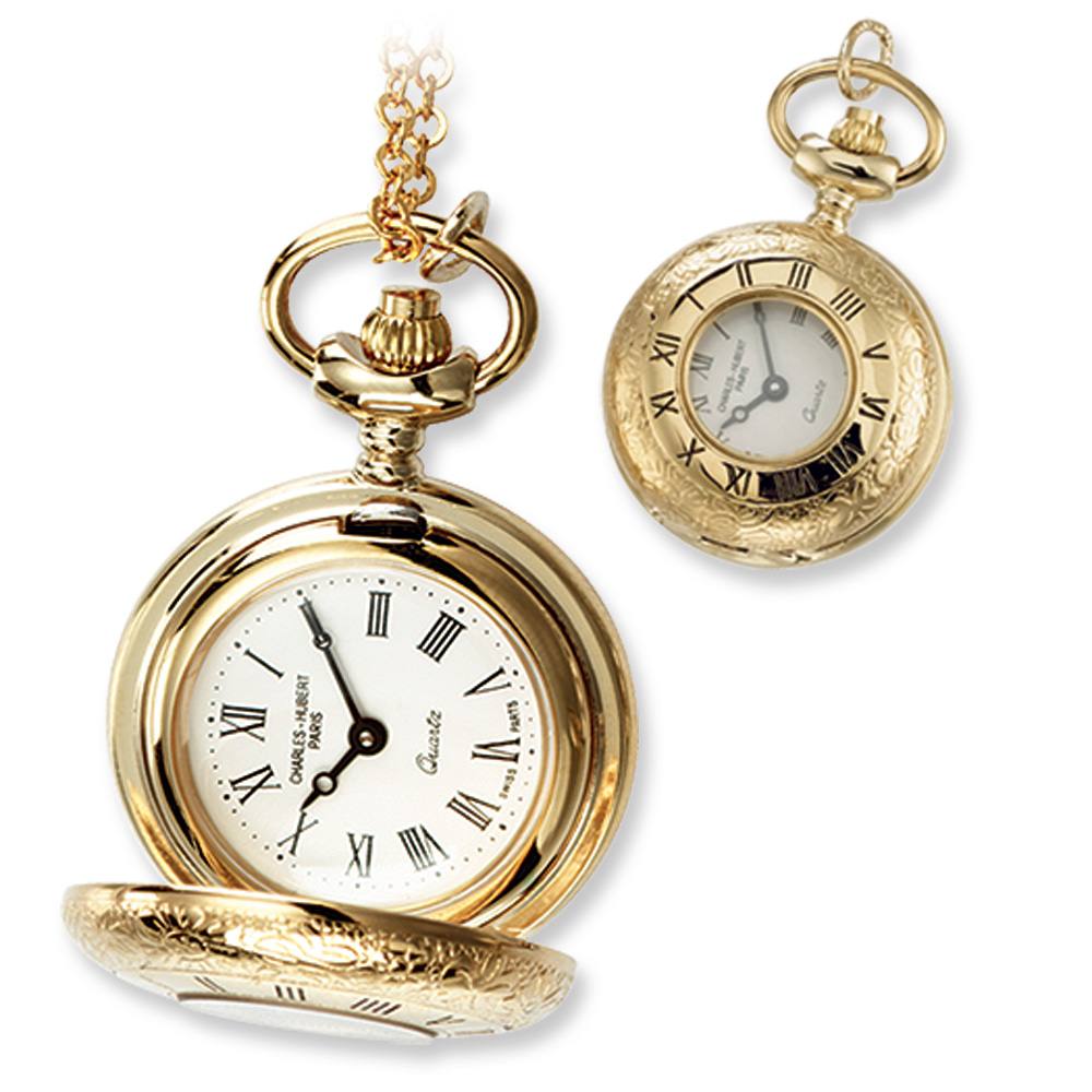 Ladies, Gold-plated Brass, See-Through Cover Pocket Watch Necklace