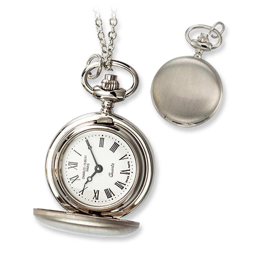 Ladies, Chrome-plated Brass, Satin Pocket Watch Necklace