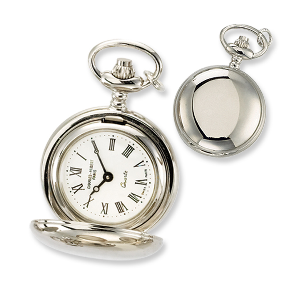 Ladies, Chrome-plated Brass, Polished Pocket Watch Necklace