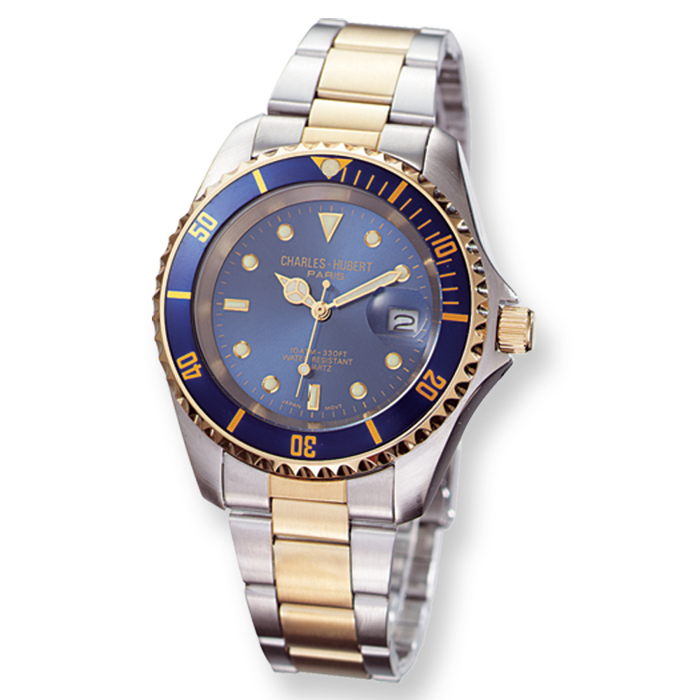 Men's Two-Tone, Rotating Diver's Bezel Watch by Charles Hubert