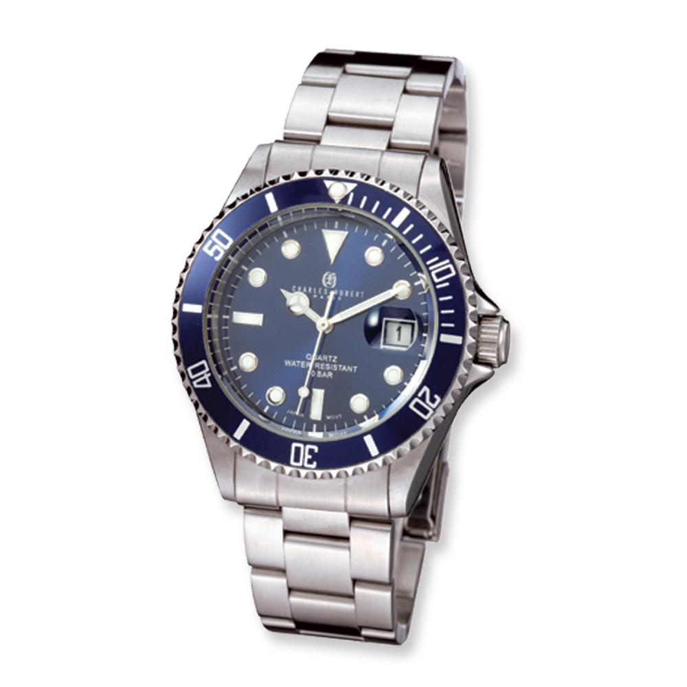 Men's Blue Dial, Rotating Bezel Watch by Charles Hubert