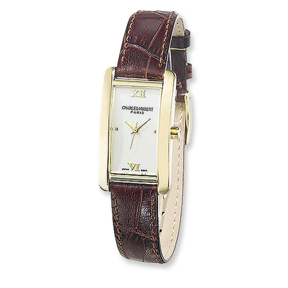 Ladies Brown Leather Band Watch by Charles Hubert