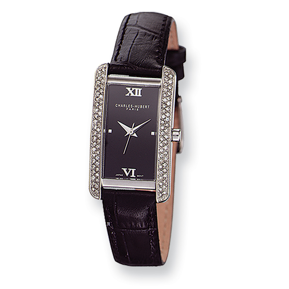 Ladies Black Leather Band Watch by Charles Hubert