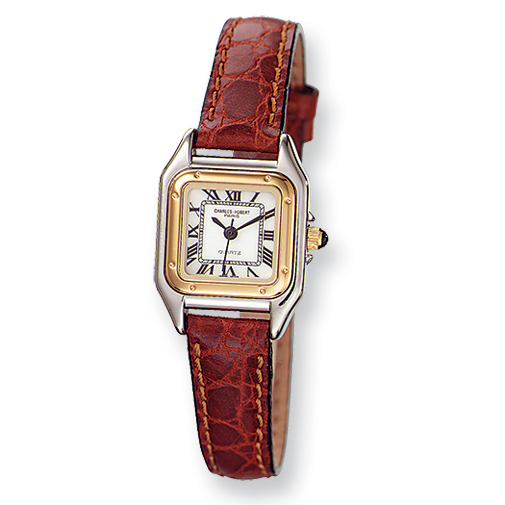 Ladies Red Leather Band, Retro Watch by Charles Hubert