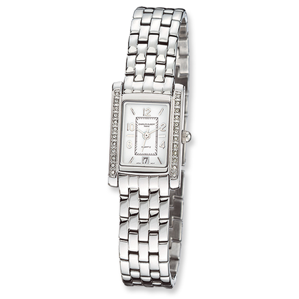Ladies Chrome Finish Panther Link Watch by Charles Hubert