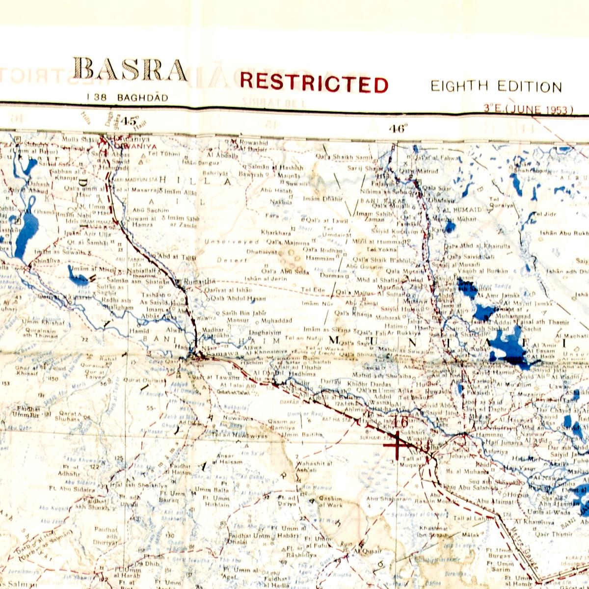 british gulf war fabric map of baghdad basra